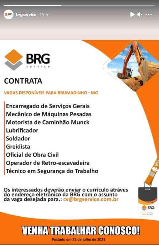 Vagas de emprego na BRG Service